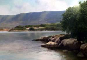 i monti del gargano visti dalla riva del lago di Varano